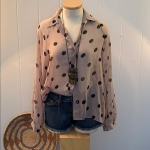 Forever21 sheer Hi-Low button down polka dot top